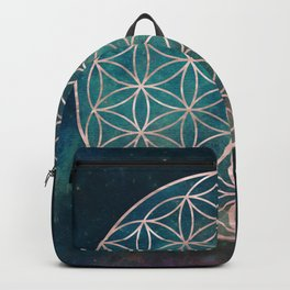 Mandala Flower of Life Rose Gold Space Stars Backpack