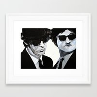 blues brothers Framed Art Prints featuring Blues Brothers Painting by Megan Oliveri Designs
