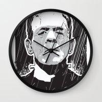 frankenstein Wall Clocks featuring Frankenstein by Matt Fontaine Creative
