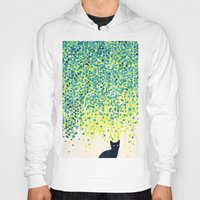 garden Hoodies featuring Cat in the garden under willow tree by Picomodi