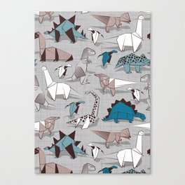 Origami dino friends // grey linen texture blue dinosaurs Canvas Print