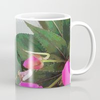 hot pink Mugs featuring Hot Pink by Glenn Designs