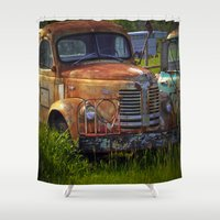 truck Shower Curtains featuring Old Truck by P.C.M. ART PHOTOGRAPHY