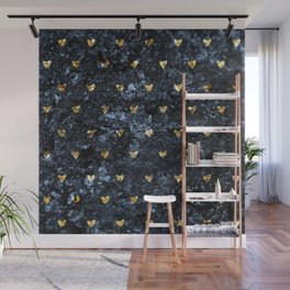 Gold Glitter Hearts on Blue-Black Scratched Suede Wall Mural