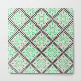 Moroccan Inspired Lime and Black Tile Graphic Design Metal Print