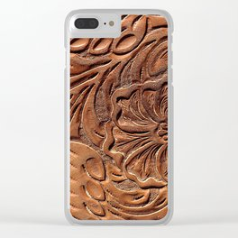 Vintage Worn Tooled Leather Clear iPhone Case