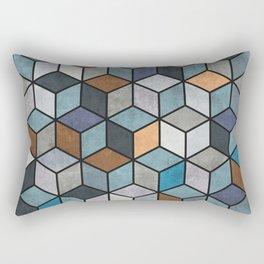 Colorful Concrete Cubes - Blue, Grey, Brown Rectangular Pillow