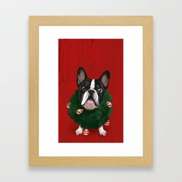 Christmas Bulldog Framed Art Print