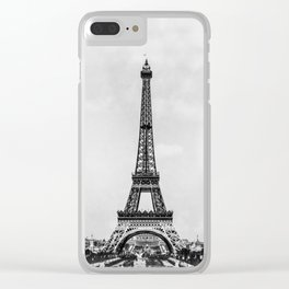 Eiffel tower, Paris France in black and white with painterly effect Clear iPhone Case
