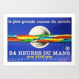 24hs Le Mans, 1974, original vintage poster Art Print