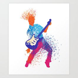 Abstract Art Rock and Roll Music Note Guitarist Gift Art Print