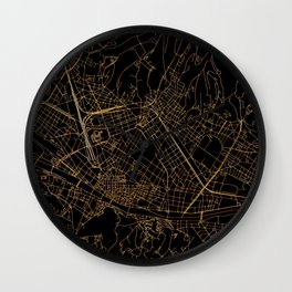 Black and gold Florence map Wall Clock