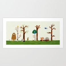 The forest animals are visited by Peacock Art Print
