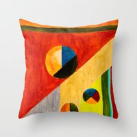 kandinsky Throw Pillows featuring BALANCE by THE USUAL DESIGNERS