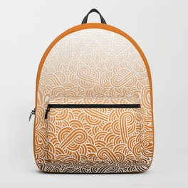 Faded orange and white swirls doodles Backpack