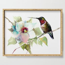 Hummingbird and White Magnolia Serving Tray