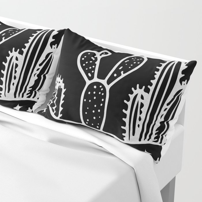 Cactus Planter Gray on Black Pillow Sham