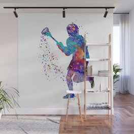 Lacrosse Boy Colorful Watercolor Art Sports Gift Wall Mural