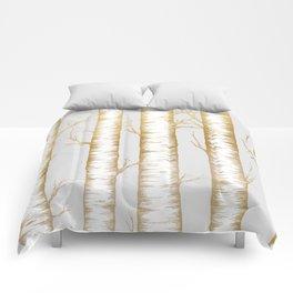 Metallic Birch Trees Comforters