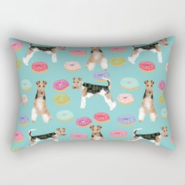 Wire Fox Terrier donuts dog pattern dog lover gifts for dog person dog breeds pet friendly Rectangular Pillow