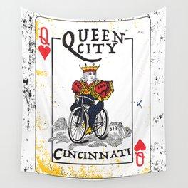 Queen of Cincinnati Bike Print Wall Tapestry