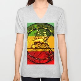 Lion of Judah Haile Selassie King of Kings Unisex V-Neck