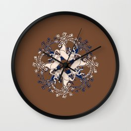 Celtic Deer Pattern - Brown Blue Cream Wall Clock