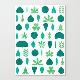 Leaf Shapes and Arrangements Pattern Bright Canvas Print