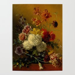 """George Jacobus Johannes van Os """"Still Life with Flowers"""" Poster"""