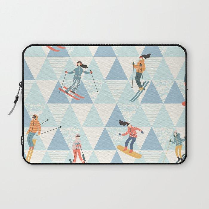 Ski skiing winter snow mountain pattern Laptop Sleeve