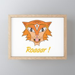 funny cute lioness roar cartoon roaaar  Framed Mini Art Print