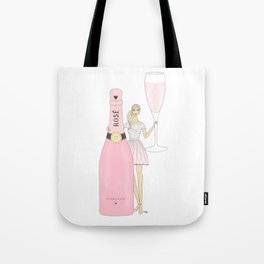 Rose Champagne Fashion Girl Blonde Tote Bag