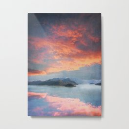Sunset Over Lake Como Italy Metal Print