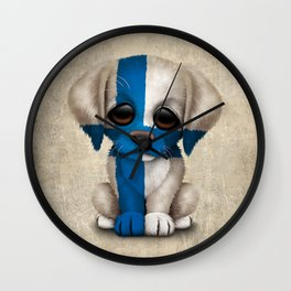 Cute Puppy Dog with flag of Finland Wall Clock