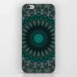 Mandala in malachite tones iPhone Skin