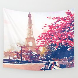 The Eiffel Tower in the Fall Watercolor Painting Wall Tapestry