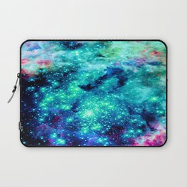 Colorful Teal Galaxy Sparkle Stars Laptop Sleeve