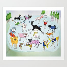 Dogs on Ice! Art Print