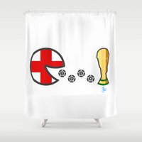 world cup Shower Curtains featuring England World Cup 2014 by onejyoo