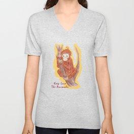 Orangutan In The Forest Unisex V-Neck