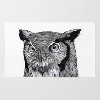owl Area & Throw Rugs featuring Owl by Puddingshades