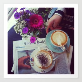 Coffee, Flowers, Friends Art Print