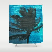 swimming Shower Curtains featuring Swimming Palm by Catspaws