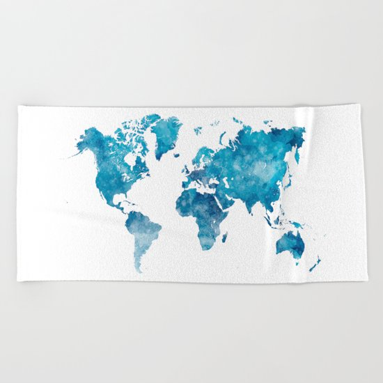 World map in watercolor. Beach Towel