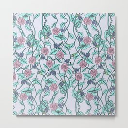 the pattern of flowers and leaves Metal Print