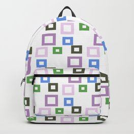 Geometrical lilac lavender blue forest green squares pattern Backpack