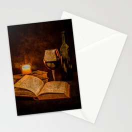 Wine and Reading by Candlelight Stationery Cards