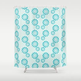 Etcha Sketch Teal Shower Curtain