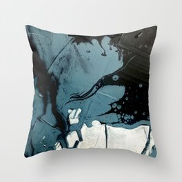 Fortune [5]: A bold, minimal, abstract mixed-media piece in blue and black Throw Pillow