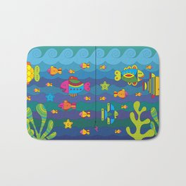 Concept with stylize fantasy fishes under water. Bath Mat